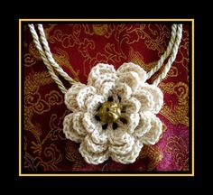 Very elegant vintage pattern necklace with crochet cappuccino flower. Fantastic gift for every woman.