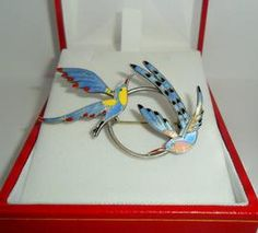 Beautiful Danish Vintage Silver And Enamel Brooch. Hummingbirds.