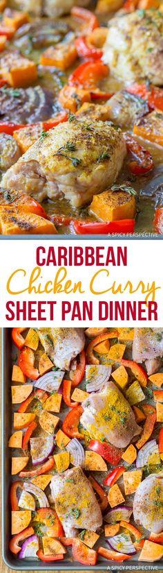 Caribbean Chicken Curry Sheet Pan Dinner from @spicyperspectiv