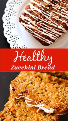 The moisture in this zucchini bread recipe is just unbelievable. I use an apple, zucchini, carrots, and olive oil to make the perfect bread loaf and the drizzle on a cream cheese frosting. Incredibly moist and flavorful, you'll love every single bite! #zucchinibread #healthyzucchinibread #zucchinibredrecipe #recipesworthrepeating | recipesworthrepeating.com