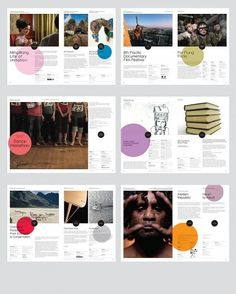 Creative Layout, Booklet, Brochure, Festival, and Branding image ideas & inspiration on Designspiration Circle Graphic Design, Graphic Design Layouts, Graphic Design Inspiration, Layout Inspiration, Brochure Inspiration, Design Ideas, Editorial Design, Editorial Layout, Web Design