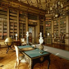 Interior View of the Library in the Castello di Miramare.