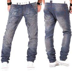 Tazzio Herren Jeans Hose Denim Japan Kosmo Style Clubwear Fit Chino Used Blau
