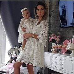 fashion lace mother daughter dress mommy and me clothes family look women girls mom mum mama and baby's matching dresses outfits We offers a wide selection of trendy style women's clothing. Affordable prices on new tops, dresses, outerwear and more. Mommy And Me Dresses, Mommy And Me Outfits, Mom Dress, Baby Girl Dresses, Cute Dresses, Kids Outfits, Couple Outfits, Dress Set, Baby Outfits