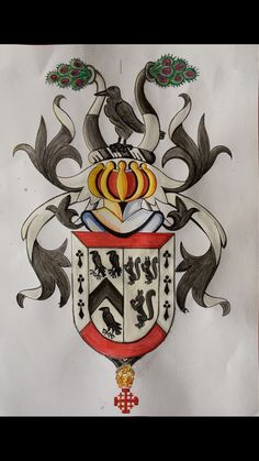 My (Friis-Johnes) coat of arms, Knight of the Equestrian Order of the Holy Sepulchre in Jerusalem - painted by Dr. Alexander Scheel-Exner.