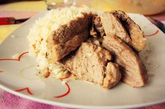 The Delicious Miss Fran: Pulpa de Cerdo al horno con arroz y ensalada cole slaw French Toast, Pork, Beef, Cooking, Breakfast, Juices, Rice, Salads, Recipes