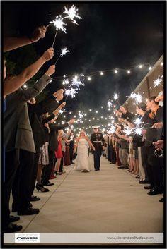 Wedding Sparkler exit, Bride and her Groom, Marine