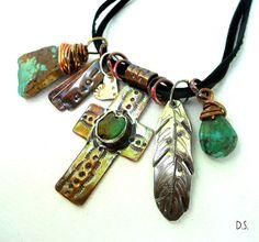 Handmade Southwest Green Turquoise Copper Cross by jewelrybyDebra, $100.00