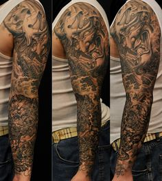 Full sleeve Hannya Mask Koi Fish and Foo Dog tattoo Chronic Ink
