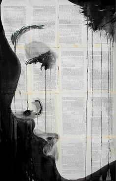 Queensland, Australia-based artist Loui Jover creates striking artworks by using pen and dripping ink on pages of vintage books.