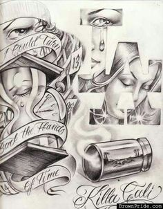 arte more tattoo ideas lowrider chicano art killa cali chicano tattoo . Art Chicano, Chicano Art Tattoos, Chicano Drawings, Cholo Art, Gangsta Tattoos, Prison Drawings, Gangster Drawings, Boog Tattoo, Tatoo Art