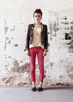 jacket with tassels, red pants, espadrilles