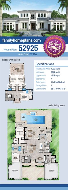 Contemporary House Plan 52925 | Total Living Area: 4,290 SQ FT, 4 bedrooms, 4 full bathrooms and 2 half baths. #contemporaryhome