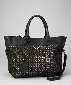 Segolene Paris Black Lattice Cutout Tote  - up to 70% off on this site! Perfect Christmas gifts! $49.61CAN (reg $184.85) Lots more neat stuff! It's like a Winners/TJMaxx but online!!
