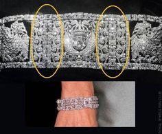 The second bracelet was created by putting the six scroll motifs two by two, linked by a single row of diamonds. They are connected by some of the emerald-cut diamonds that separated the panels in the historic piece