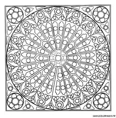 coloriage Mandala rosace vitraux de cathédrale