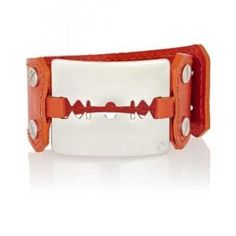 McQ Alexander McQueen - Leather Cuff Bracelet Razor Red White - $81.00 (55% off)