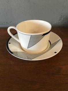 "Vintage Retro Christopher Stuart for Optima ""Angles"" Cups and Saucers, set of 12"