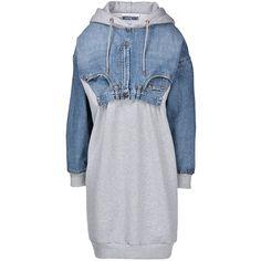 Moschino Short Dress (184.425 HUF) ❤ liked on Polyvore featuring dresses, grey, gray mini dress, short grey dress, mini dress, print dress et long sleeve dresses