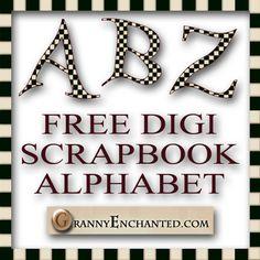 """Black Checks"" Free Digital Scrapbook Alphabet ***Join 1,770 people. Follow our Free Digital Scrapbook Board. New Freebies every day."
