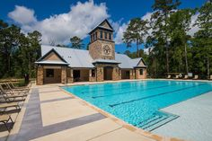 Woodtrace Recreation Center- Poolside View of Rec Center