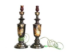 Vintage Lamp Asian Art Etched Metal Set of by LkWhatTheCatDraggedN
