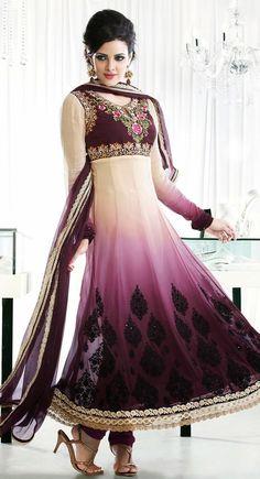 Elegant Deep Off White & Pale Violet Salwar Kameez