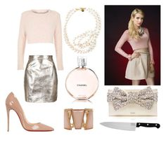 """Chanel Oberlin - Scream Queens"" by littlewond3rland ❤ liked on Polyvore featuring Oh My Love, Kate Spade, River Island, STELLA McCARTNEY, Chicago Cutlery, Christian Louboutin and M&Co"