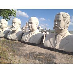 Concrete presidents. 2500 Summer St., Houston, Texas