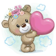 Cute Cartoon Pictures, Cartoon Pics, Cute Images, Baby Room Lamps, Urso Bear, Teddy Bear With Heart, Bear Theme, Girly Drawings, African Art