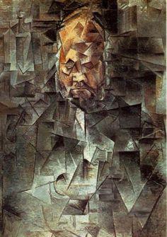 Titel Portret van Vollard Gemaakt door: Pablo Ruiz y Picasso Datum 1910 Materiaal: Olieverf op doek Stroming: Kubisme