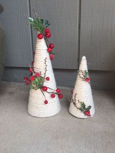 Christmas Holiday paper mache Cone Yarn Trees with berry, holly, frosted branch garland, tabletop holiday deco - Diy Crafts Little Christmas Trees, Christmas Crafts For Kids, Rustic Christmas, Christmas Art, Christmas Projects, Holiday Crafts, Christmas Holidays, Christmas Wreaths, Christmas Decorations