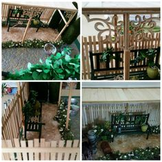 Poppenhuizen en miniaturen.  Tuin Frans huisje. Www.marianne25.jouwweb.nl