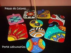 Porta Sahumerios Artesanales . (consultar Por Cantidad) - $ 59,90 en MercadoLibre Coaster Art, Tea Coaster, Coaster Design, Diy Coasters, Wooden Coasters, Cork Crafts, Diy And Crafts, Diy Y Manualidades, Mexican Crafts