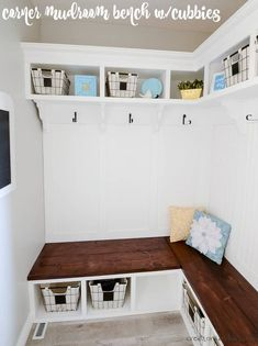How to make a mudroom bench with cubbies and shelves - check out the full tutorial for this mudroom project! #mudroombench #cornerbench #diycornerbench #mudroomshelves Corner Bench, Room Corner, Mudroom Laundry Room, Laundry Room Design, Cubbies, Shelves, Love Home, Cool Diy Projects, Diy Home Improvement