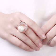 Luxury Rose Gold Circle Rhinestone Pearl Women Wedding Ring at Banggood