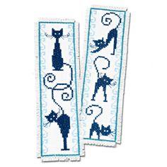 """2 Lesezeichen im Set """"Katzen"""" « Dies & Das « Kreuzstich « Sticken - Hier finden Sie Wandbehänge, Lesezeichen, Fensterbilder uvm. im Junghans-Wolle Creativ-Shop kaufen"""