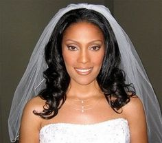 African American Wedding Hairstyles & Hairdos: Long Waves with Veil