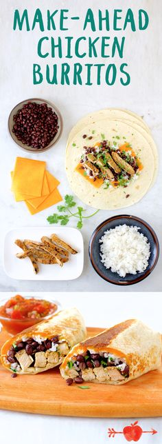 weight loss yoga, lose belly fat, weight loss drink - Make these easy chicken burritos ahead of time for a quick meal solution. Make Ahead Meals, Quick Meals, Freezer Meals, Healthy Snacks, Healthy Eating, Healthy Recipes, Chicken Burritos, So Little Time, Mexican Food Recipes
