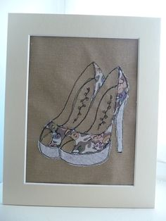 """Floral Shoes"" Appliqued and embroidered picture ,"