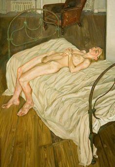* Lucian Freud - - - Naked portret by the red chair - Sigmund Freud, Robert Rauschenberg, Edward Hopper, Figure Painting, Painting & Drawing, Figure Drawing, Van Gogh, Antoine Bourdelle, Art Moderne
