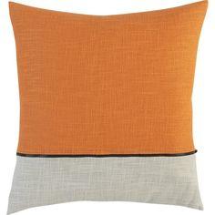 "Zipper Orange 18"" Pillow in Decorative Pillows   Crate and Barrel"
