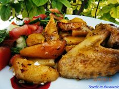 veselie in bucatarie: Cartofi noi la cuptor Chicken Wings, Cooking Recipes, Meat, Food, Chef Recipes, Hoods, Meals, Recipes, Buffalo Wings