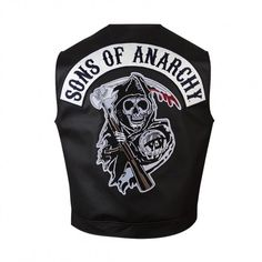 Sons of Anarchy Reaper Faux Leather Vest (€50) ❤ liked on Polyvore featuring outerwear, vests, sons of anarchy vest, fake leather vest, vest waistcoat, faux leather vest and sons of anarchy