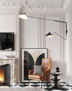 Rooms Decoration, Decoration Design, Room Decor, Interior Design Inspiration, Home Interior Design, Interior Decorating, Neoclassical Interior Design, Style Inspiration, Serge Mouille Lamp
