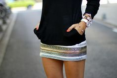 skirt golden silver