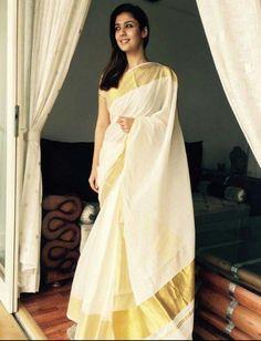 Kerala Kasavu Saree (worn by Nayanatara) Onam Saree, Kasavu Saree, Kerala Saree, Indian Sarees, Traditional Sarees, Traditional Dresses, Set Saree, White Saree, Sari Dress