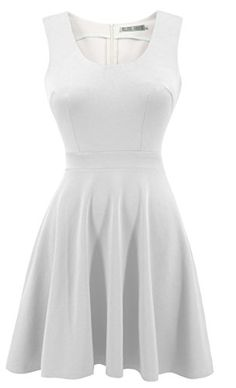 $17.99--OFF WHITE--XXL---Heloise Women's A-Line Wide Round Neck Sleeveless Pleated Little Cocktail Party Dress