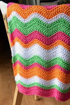 Crochet Baby Ripple Afghan-Blanket (Orange, Pink, Green, White)
