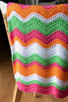 Crochet Baby Ripple Afghan-Blanket (Orange, Pink, Green, White)